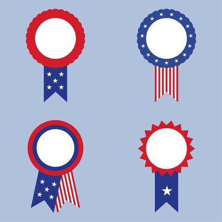 Set of USA badges with flag isolated on blue background. Vector illustration Illustration