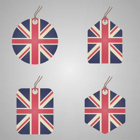 Set of red and blue uk flags and ribbons, badges