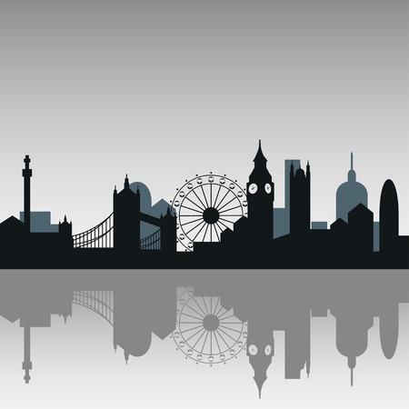 ロンドン市内のスカイライン シルエット背景、ベクトル イラスト  イラスト・ベクター素材