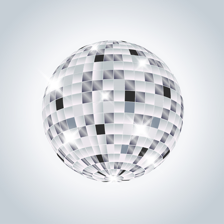 Disco ball on a gray background. Vector illustration