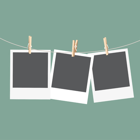 clothespin: Set of photo frames on the rope with clothespin. Vector illustration Illustration