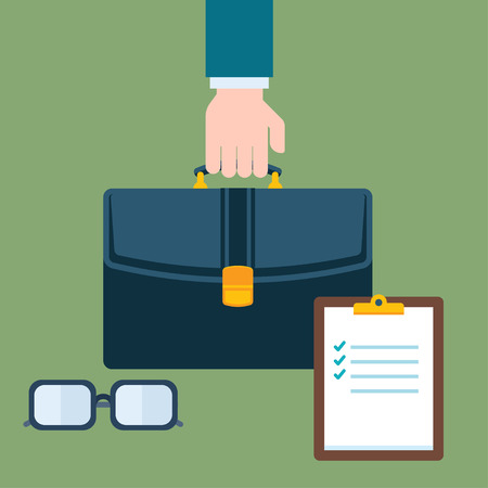 paper case: Business concept. The hand holding case. Glasses and paper