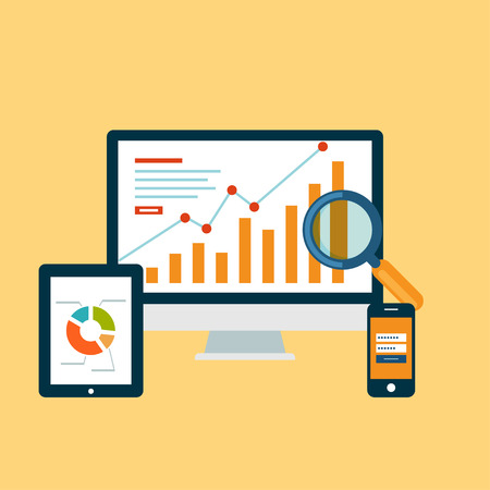 statistic: Business concept. Monitor with statistic, tablet and magnifying glass Illustration