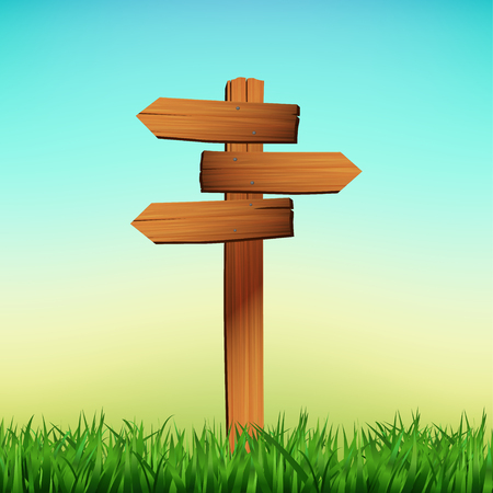 Wooden signboard arrow on a grass background. Vector illustration