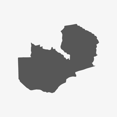 foreign land: Zambia map in gray on a white background