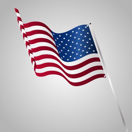 Vector Illustration of a waving US flag fasten on a flag pole Vector Illustration
