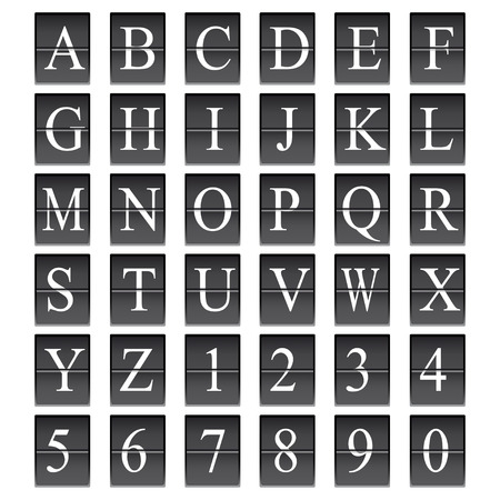 departure: Alphabet in airport arrival and departure display style template