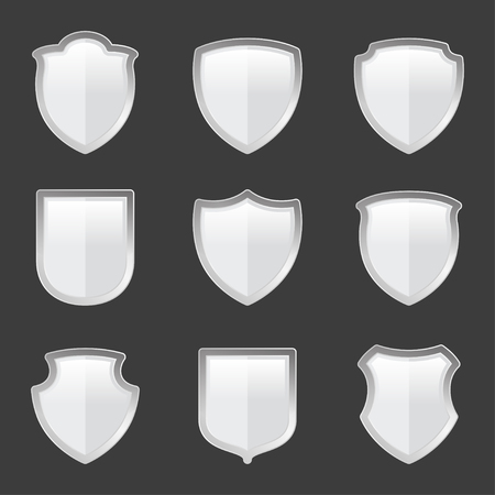 different shapes: Set of shields in different shapes. Vector illustration