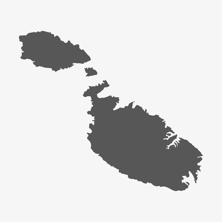 palm wreath: Malta map in gray on a white background
