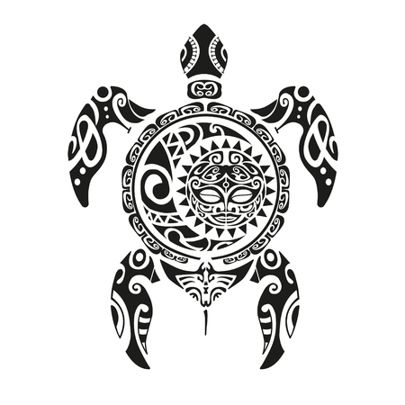 Turtle tattoo in Maori style. Vector illustration Zdjęcie Seryjne - 62692761