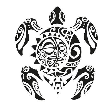 カメは、マオリのスタイルをタトゥーします。ベクトル図