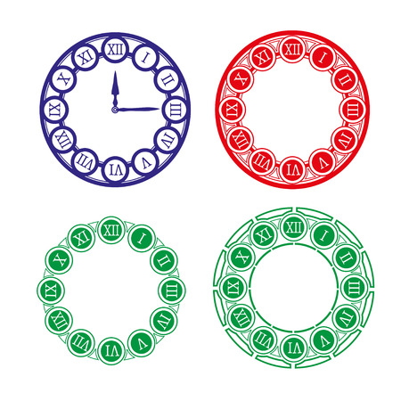 replace: Set of different clock faces. Editable Clock, easily remove and replace hands and design. Vector illustration