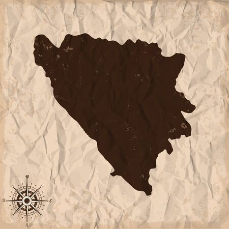 herz: Bosnia and Herzegovina old map with grunge and crumpled paper. Vector illustration