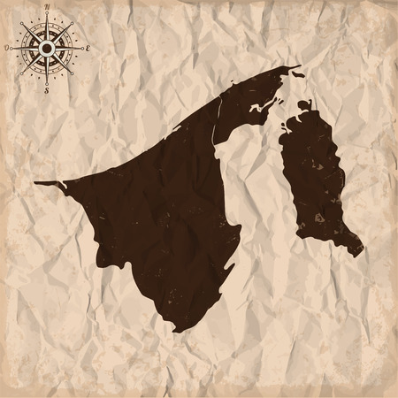 Brunei old map with grunge and crumpled paper. Vector illustration Illustration