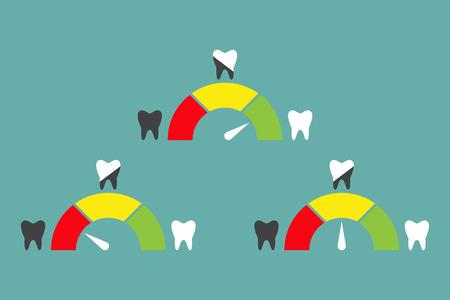 helthcare: Speedometer or rating meter signs infographic gauge element. Dental concept with teeth. Vector illustration Illustration