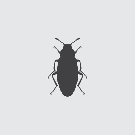 Beetle icon in a flat design in black color. Vector illustration