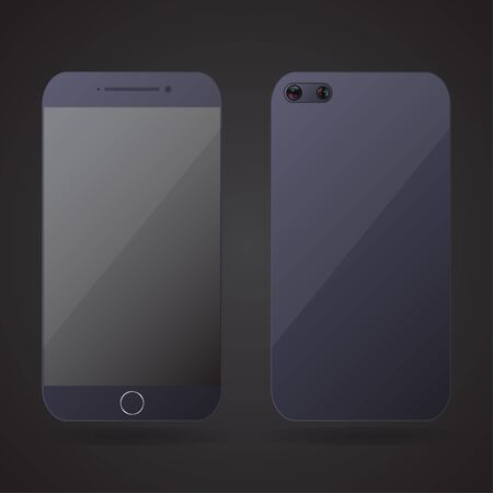 iphon: Smartphone realistic front and back on a black background. Vector illustration