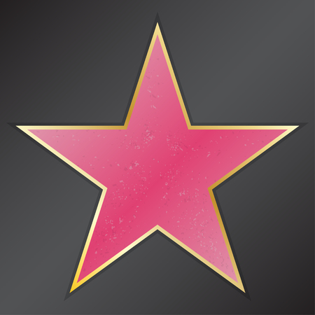 boulevard: Walk of fame star with emblems symbolize five categories. Hollywood, famous sidewalk, boulevard actor. Vector illustration Illustration