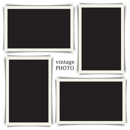 stickies: Old vintage photo collection with different shadows. Vector illustration EPS10