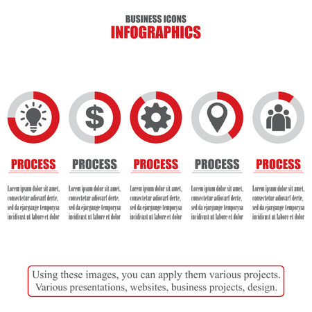 bisiness: Process chart. Business data. Set of bisiness icons. Vector illustration