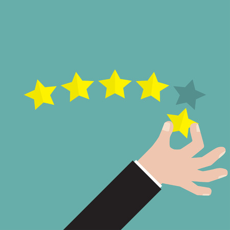 five star: Businessman hand giving five star rating, Feedback concept, VECTOR
