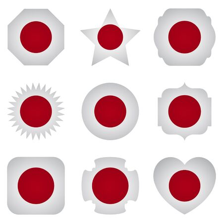 different shapes: Japan flag with different shapes on a white background
