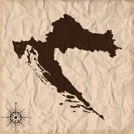 republic of colombia: Croatia old map with grunge and crumpled paper. Vector illustration
