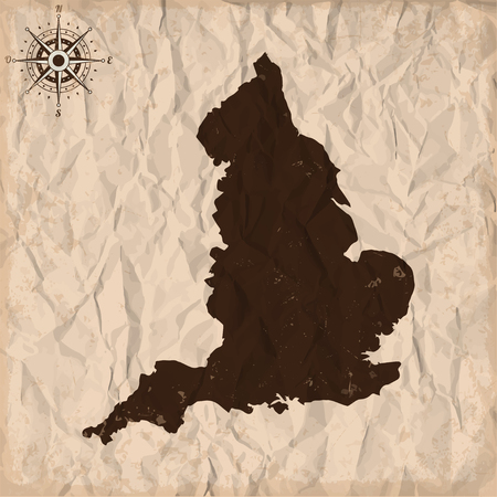 isles: England old map with grunge and crumpled paper. Vector illustration Illustration