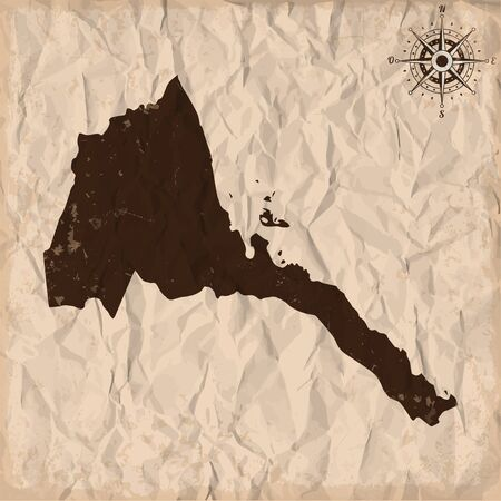 Eritrea old map with grunge and crumpled paper. Vector illustration