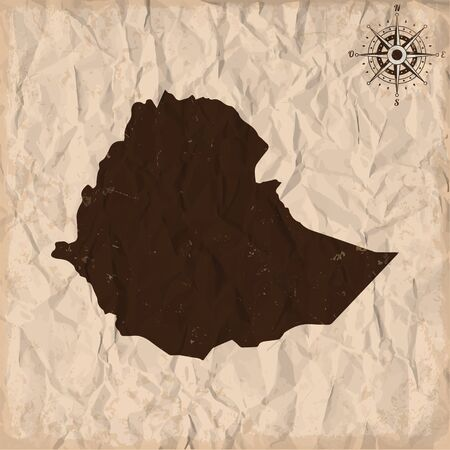 republic of colombia: Ethiopia old map with grunge and crumpled paper. Vector illustration