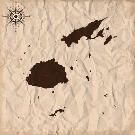 fiji: Fiji old map with grunge and crumpled paper. Vector illustration