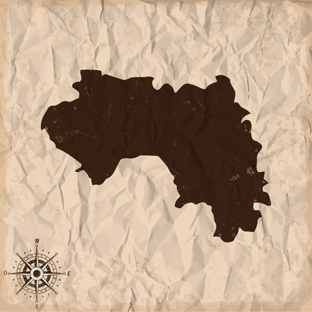 republic of colombia: Guinea old map with grunge and crumpled paper. Vector illustration