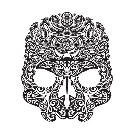 moray: Skull tattoo in the style of Maori with marine life. Sea creatures