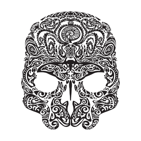 polynesian ethnicity: Skull tattoo in the style of Maori with marine life. Sea creatures