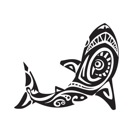 Shark tattoo in Maori style. Vector illustration Stock Illustratie