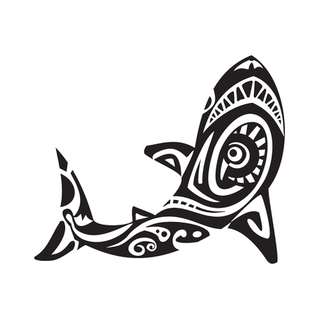 Shark tattoo in Maori style. Vector illustration Çizim
