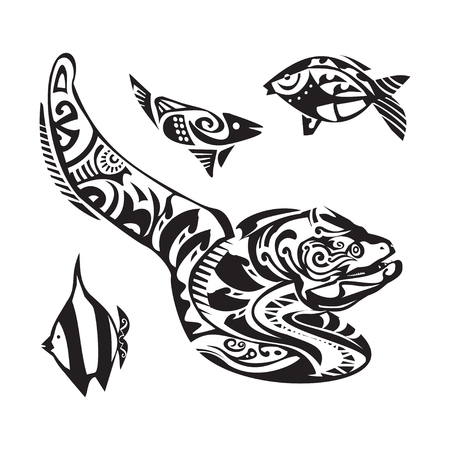 moray: Moray tattoo in Maori style. Vector illustration