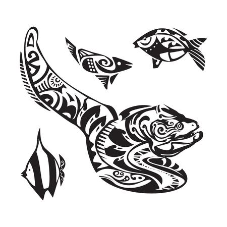 moray: Moray tattoo in Maori style. Vector illustration