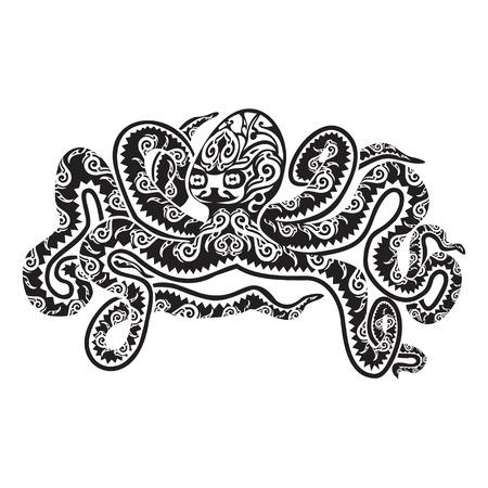 Octopus tattoo in Maori style. Vector illustration
