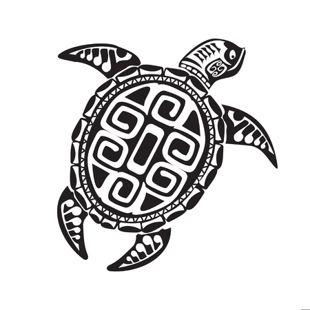 Turtle tattoo in Maori style. Vector illustration
