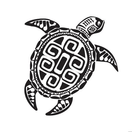 Turtle tattoo in Maori style. Vector illustration Reklamní fotografie - 63463835