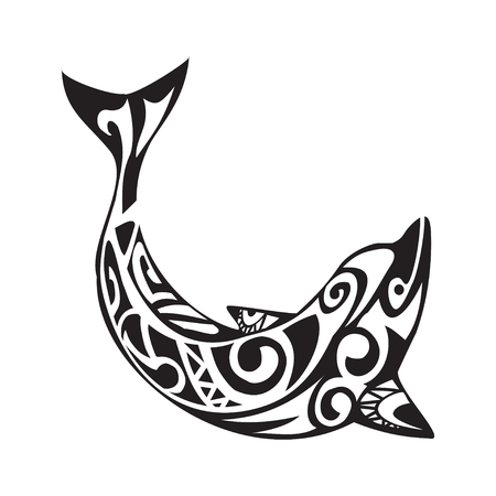dolphin silhouette: Dolphin tattoo in Maori style. Vector illustration