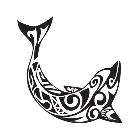 Dolphin tattoo in Maori style. Vector illustration