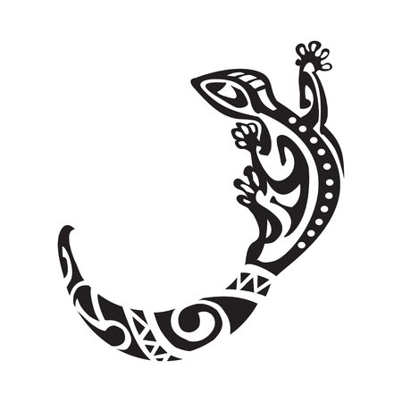 Salamander tattoo in Maori style. Vector illustration