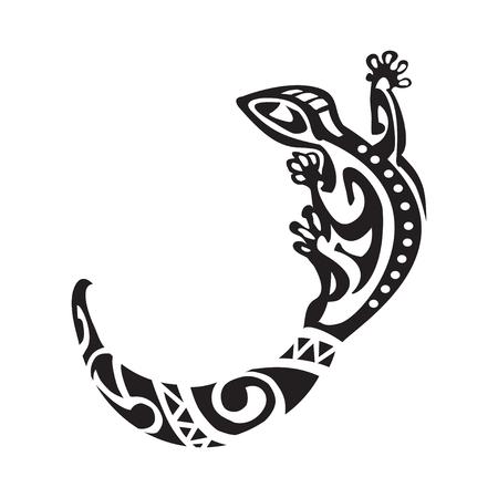 tatuaje salamandra en estilo maorí. ilustración vectorial