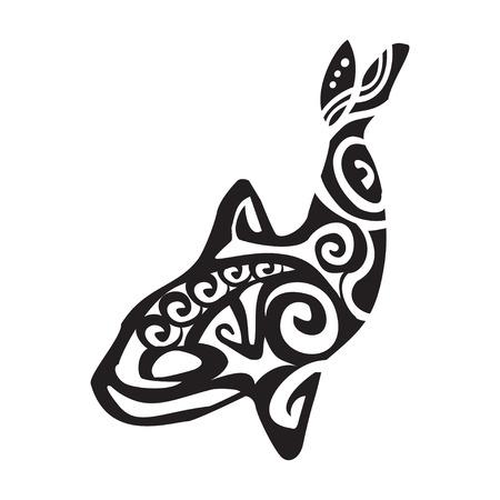 Grampus tattoo in Maori style. Vector illustration