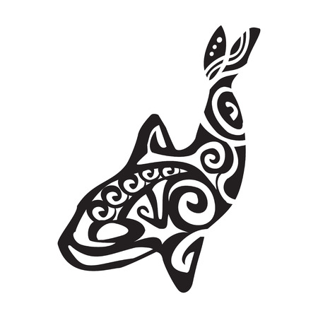 grampus: Grampus tattoo in Maori style. Vector illustration