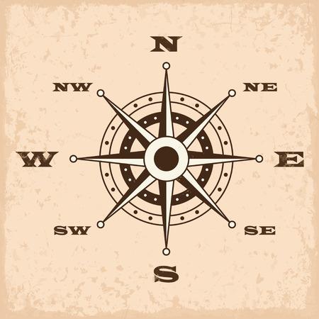 Rosa de los vientos con el grunge. ilustración vectorial