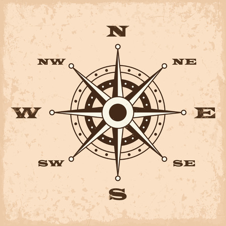 wind rose: Wind rose with grunge. Vector illustration