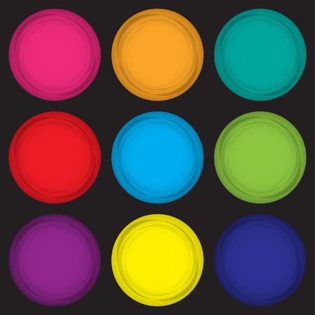 Set of colored magnets in a flat design on a black background. Vector illustration Illustration